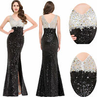 Sequins Mermaid Formal Evening Long Gown Cocktail Prom Party Wedding Split Dress