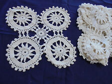 SET of 7 Vintage Hand Crochet Doilies BEAUTIFUL Cream with detailed design