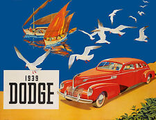 1939 Dodge Dealer Showroom Wall Poster 13 x 17 Giclee Print