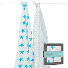 Aden and Anais fluro blue classic muslin swaddle 2 pks
