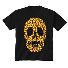 Kids Childrens Leopard Print Skull Face Cross T-shirt 5-13 Years