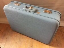 "Vintage Montgomery Ward Hawthorne Light Blue 25"" Hardside Luggage Suitcase"
