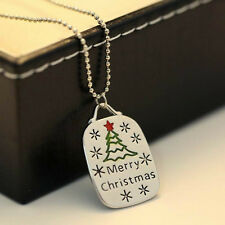 Merry Christmas Jewelry Pendant Necklace Xmas Tree Snow For New Year Gift 1PC