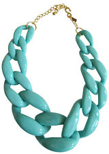Kenneth Jay Lane Turquoise Colored Resin Graduated Link Chain Necklace