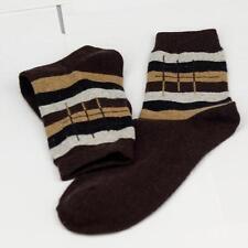 Winter Men Wool Blend Cross stripe Coffee Casual Dress Socks Sports SZ 10-13 m8