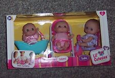 "NEW 2015 Berenguer Lot 3 Doll 5"" Lil' Cutesies Mini Nursery Tub Trike Stroller"