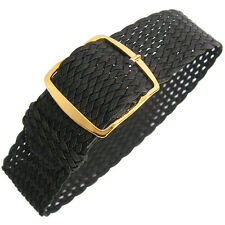 20mm Fluco Germany Black Woven Braided Nylon Perlon Watch Band Strap Gold Buckle