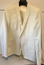 """DRY CLEANED Holland Esquire Men's White Jacket 42"""" Cotton & Steel Blend"""