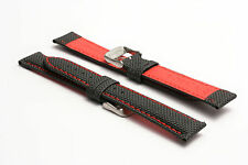 Hadley-Roma 18mm tela LORICA Watch Strap-rosso (RIGIDA)