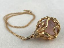 14k & 18k Large Rose Quartz Diamond Octopus Necklace One Of A Kind! Tuesday Only