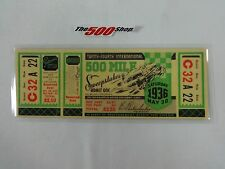 Reproduction 1936 500-Mile International Sweepstakes Race Ticket Louis Meyer