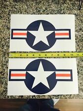 "(2 Pack!) 10"" x 5.5"" USAF Aircraft Stickers Military Vinyl Star Decal Sticker"