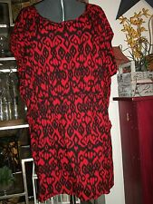 Plus Size 24W Summer Red & Black loose fitting short dress with front pockets