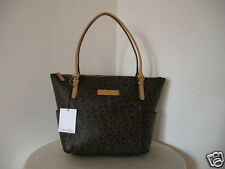 Authentic Calvin Klein H3JAJ1DT Monogram PVC Women Tote Brown