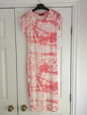 Boohoo Summer Sundress Tube Dress Pink & White Size 8