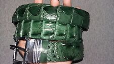 NO JOINTED -  GREEN GENUINE ALLIGATOR, Crocodile LEATHER SKIN MEN'S BELT