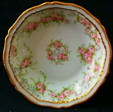 RARE~THEODORE HAVILAND LIMOGES #340 BERRY BOWL PINK ROSES DBL GOLD MINT