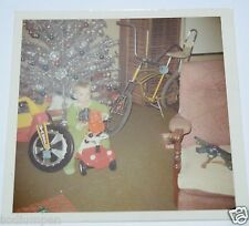WOW Vintage 1970 Christmas Day Photo Photograph Big Wheel Schwinn Banana Seat