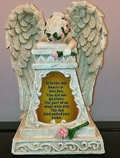 "Weeping Angel Memorial Garden Yard Statue Solar Light Decor 8 3/4""H NEW I5296"