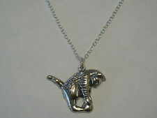 "Sterling 18"" Chain Necklace & Shube Cat / Kitten Pendant - 5.23 Grams - #M752"