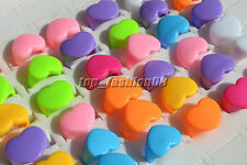 Wholesale Lots 20Pcs Heart Smooth Resin Lucite Children Rings 13-16MM Free