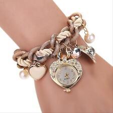 Women's Rhinestone Heart-Shaped Pendant Dial Rope Wave Bracelet Wrap Wrist Watch