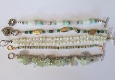 GREEN MILKY BEADS lot beaded bracelets beaded glass stone plastic VGUC bracelet