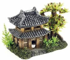 Chinese Japanese Oriental Pagoda with Tree & Plants Aquarium Fish Tank Ornament