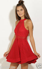 Flounce Balloon Dress M 10 12 L 14 Cocktail Open Sexy Back Skirt Stripe Party