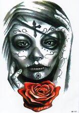Viso DONNA PUNK ROSE temporary temporanei ADESIVA una volta Tatuaggio 15 x 21 cm hb107