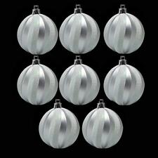 Christmas Decoration 8 Pack 60mm Glitter Swirl Baubles - Silver & White