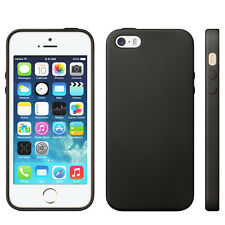 COQUE POUR IPHONE 5/5S APPLE TPU NOIR SIMPLE STYLE CUIR SOUPLE BLACK CASE