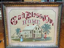 LG. Victorian punched and embroidered Sampler w/black figures God Bless Our Home