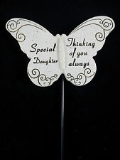 Grave Ornament memorial DAUGHTER Butterfly spike tribute Rememberance Grey New