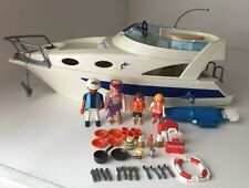 Playmobil 3645 Blue Marlin Yacht With Working Motor 4 Figures And Accessories