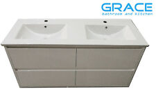 1200mm Vanity Cabinet Wall Hung Double Bowl Ceramic Top Soft Closing Drawers