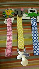Set of 3 Animal Pacifier Clips - lion, elephant and alligator.