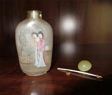 Antique Signed Chinese Reverse Hand Painted Glass Snuff Bottle 2 Women H031