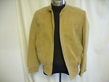 """Mens Jacket FUEL LUX Italy, beige faux suede, lined, size 50, length 26"""", 0475"""