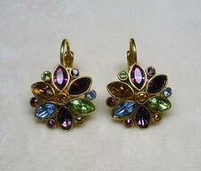 JOAN RIVERS GOLD EP MULTI COLOR CRYSTAL RHINESTONE FLOWER EARRING NEW IN BOX