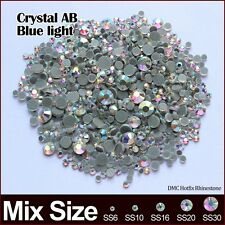 Hotfix Rhinestone Crystal AB Blue light Mixed size SS6 SS10 SS16 SS20 SS30 2060p