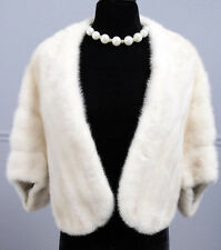LUXURIOUS CREAMY WHITE REAL MINK FUR JACKET STYLE CAPE SHRUG STOLE SHAWL WRAP