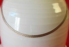 """VINTAGE 925 STERLING SILVER CHOKER FLAT ROPE NECKLACE ITALY HALLMARK 16"""" LONG"""