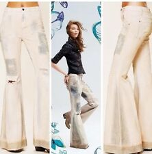 Free People FP Festy Super Flare Patched Distressed Bell Bottom Jeans Size 28