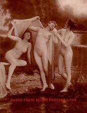 """Three Nude Women French Postcard Image 8.5x11"""" Print, Sensual, Erotic Fun Female"""