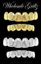 2 SETS!! 14K GOLD PLATED HIPHOP TEETH GRILLZ & SILVER PLATINUM STYLE GRILL SET!!