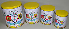 Metal Canister Set Kitchen Yellow Berggren Swedish Scandinavian Folk Art New NOS