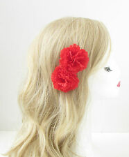 2 x red carnation fleur clips cheveux rockabilly 1950s pin up grips 1940s boho 156