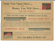 Old Advertising Mailer Valley Iron Works Williamport PA COAL Boiler Grates DEVIL