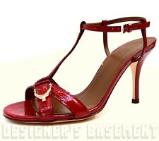 GUCCI red 36.5 Micro GUCCISSIMA Leather NICE SPUR buckle T-strap sandals NIB Ath